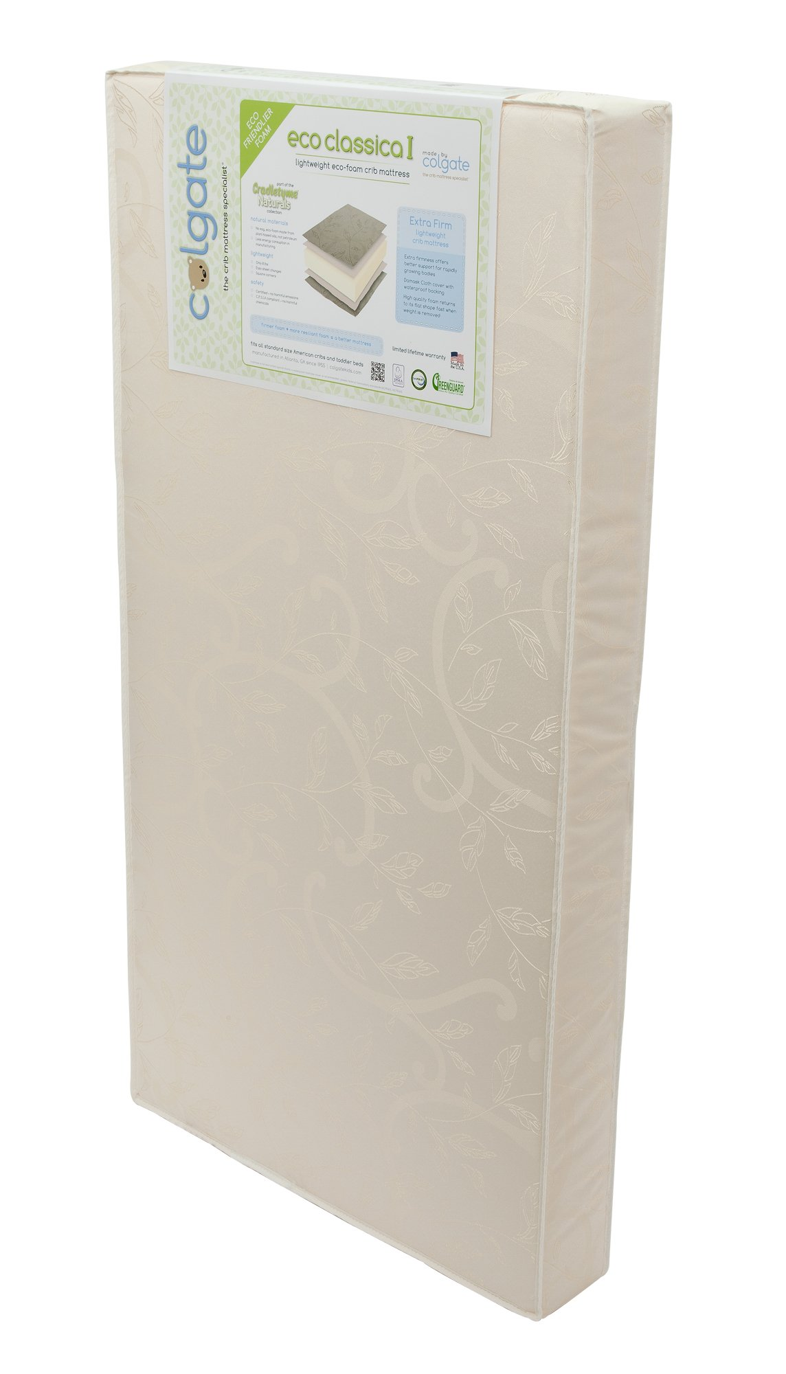 Colgate Eco Classica I - Natural Foam Crib Mattress with Waterproof Cover, Beige