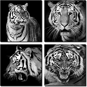 4 Pieces Black and White Tiger Wall Art Painting Modern Canvas Prints Home Decor Animal Picture Artwork for Bedroom
