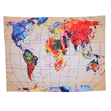amazon com world map tapestry global map wall hanging retro