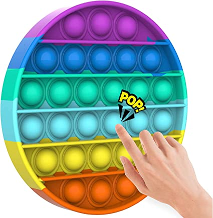 Rainbow Pop Fidget Toy,Push Mini Pop Bubble Fidget Sensory Toy,Stress Relief and Anti-Anxiety Tools Game for Kids and Adults,Square,Circle