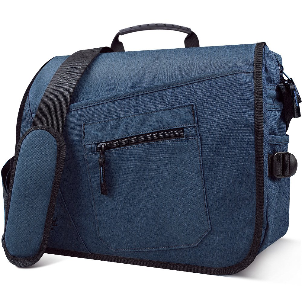 Qipi Messenger Bag - Pocket Rich Satchel Shoulder Bag for Men & Women - with 15.6 inch Laptop Compartment (Lapis Blue)