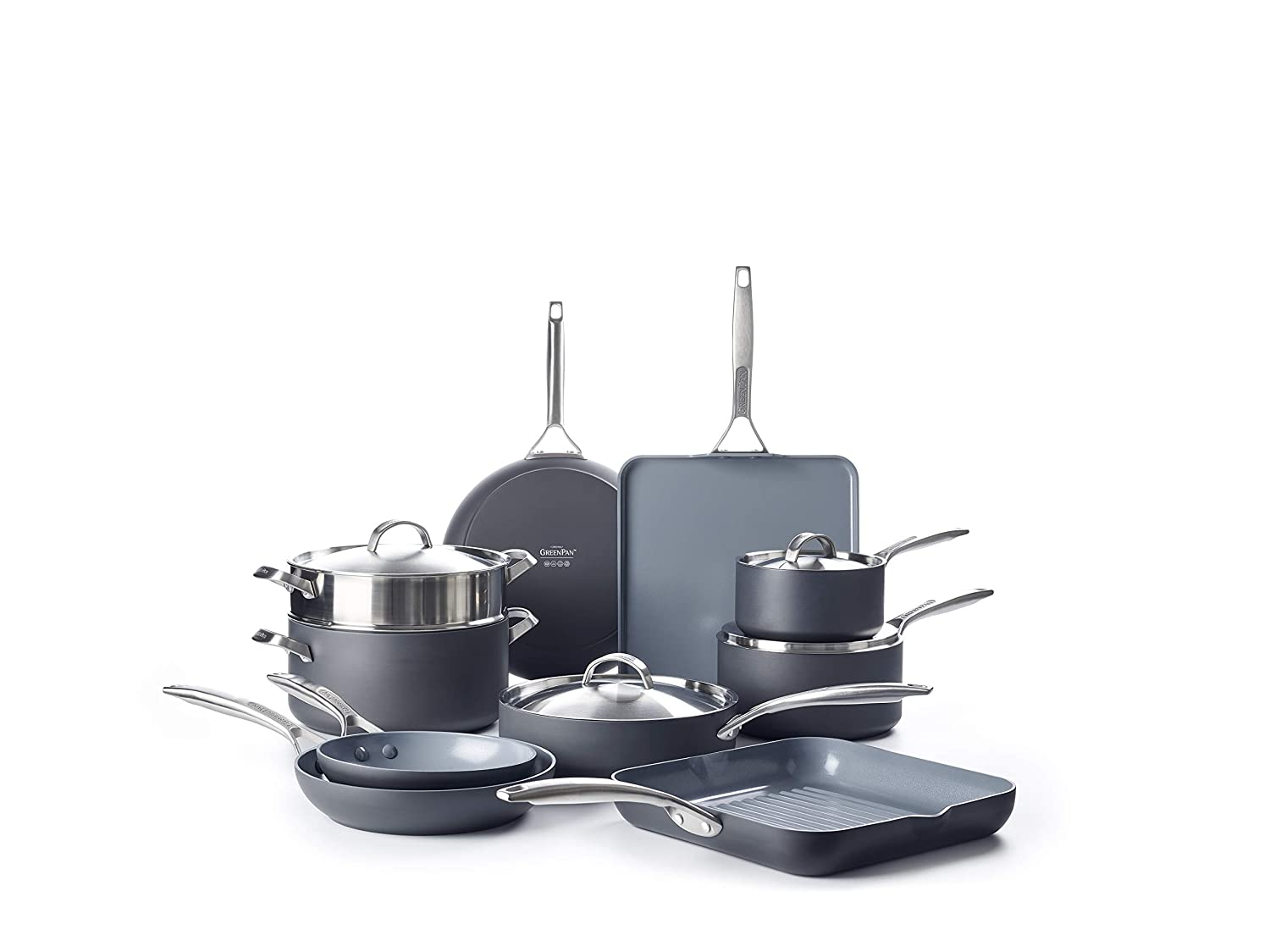 GreenPan CC002282-001 Paris Pro Cookware Set 14pc Gray