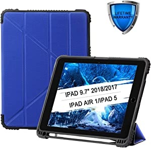 """9.7"""" ipad Case 2018/2017 5th / 6th Full-Body Rugged Anti-Shock Screen Protective Stand Cover Durable Thin Convenient Stand Sleep Wake See-Through PU Hybrid Case with Stylus Slot Holder (Blue)"""