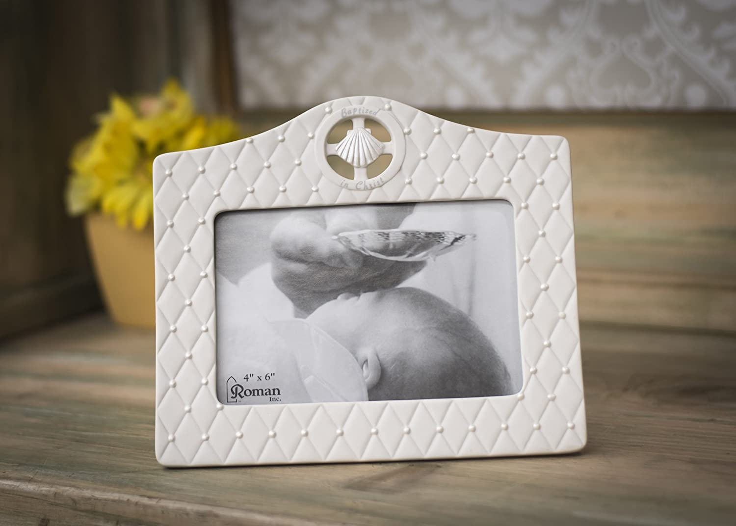 Sea Shell Baptized in Christ 7 x 7.5 inch Porcelain Inspirational Photo Frame