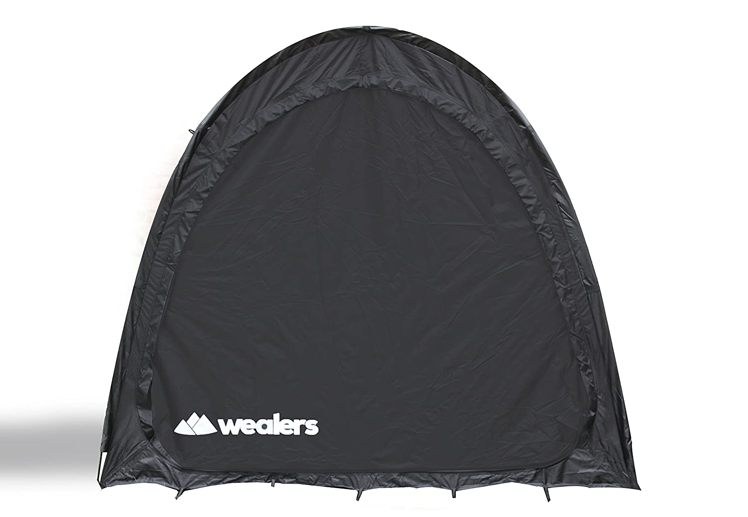 Portable Weatherproof Pop Up Bike Storage Tent with Travel Tote Bag| Instant Polyester Bicycle Touring Tent and Utility Storage Organizer for Camping | Backyards | Tours - Bike Shed (Black) Wealers