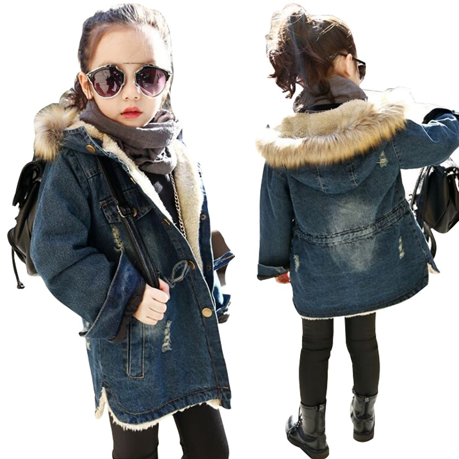 Kids Little Fall Girl Winter Hooded Fur Collar Thick Denim Coat Jacket Outerwear (9-10Years, Blue)