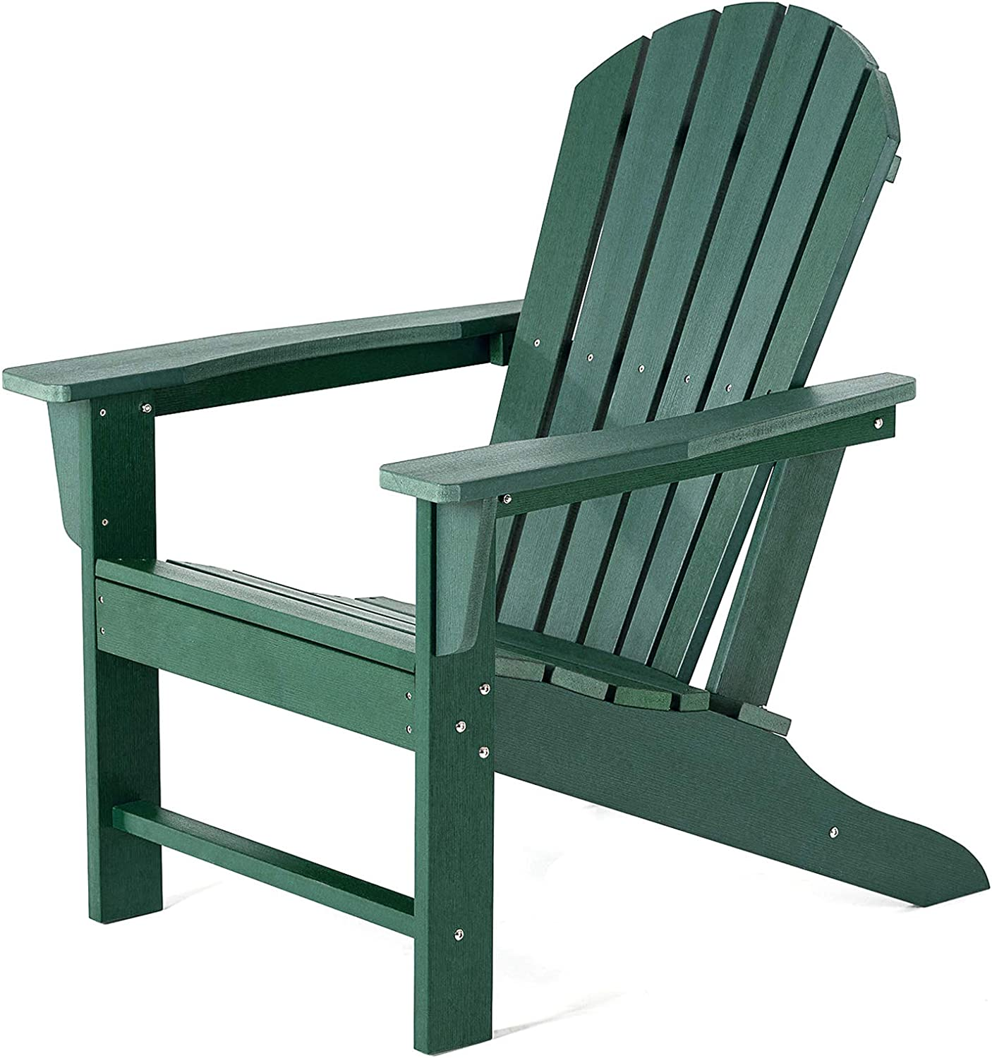 SERWALL Adirondack Chair | Adult-Size, Weather Resistant for Patio Deck Garden, Backyard & Lawn Furniture | Easy Maintenance & Classic Adirondack Chair Design (Green)