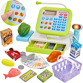 HERSITY Caja Registradora Juguetes Alimentos Supermercado de Juguetes con Sonido para Infantil Niños (Verde): Amazon.es: Juguetes y juegos