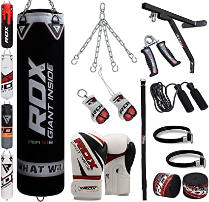 Karate Filled Heavy Bag Set with Punching Gloves Great for Grappling Kickboxing Muay Thai Wall Bracket Chain 4 pcs Comes In 4FT//5FT RDX Punch Bag for Boxing Training BJJ /& Taekwondo MMA
