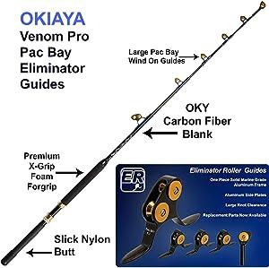 OKIAYA Carbon Fiber 6FT Venom PRO Series 80-130LB PAC Bay Guides Tournament for Penn Shimano