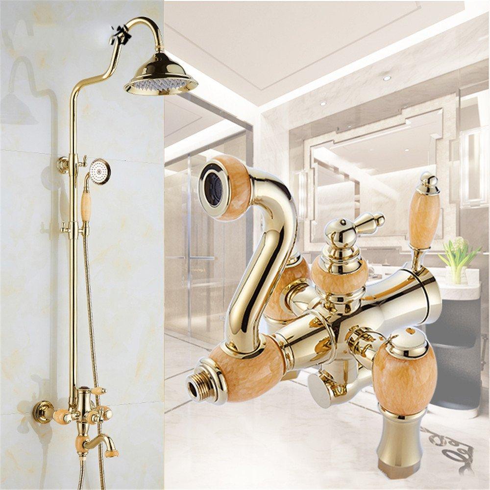 F Hlluya Professional Sink Mixer Tap Kitchen Faucet The Jade shower gold retro faucet antique shower set bathroom shower, D.