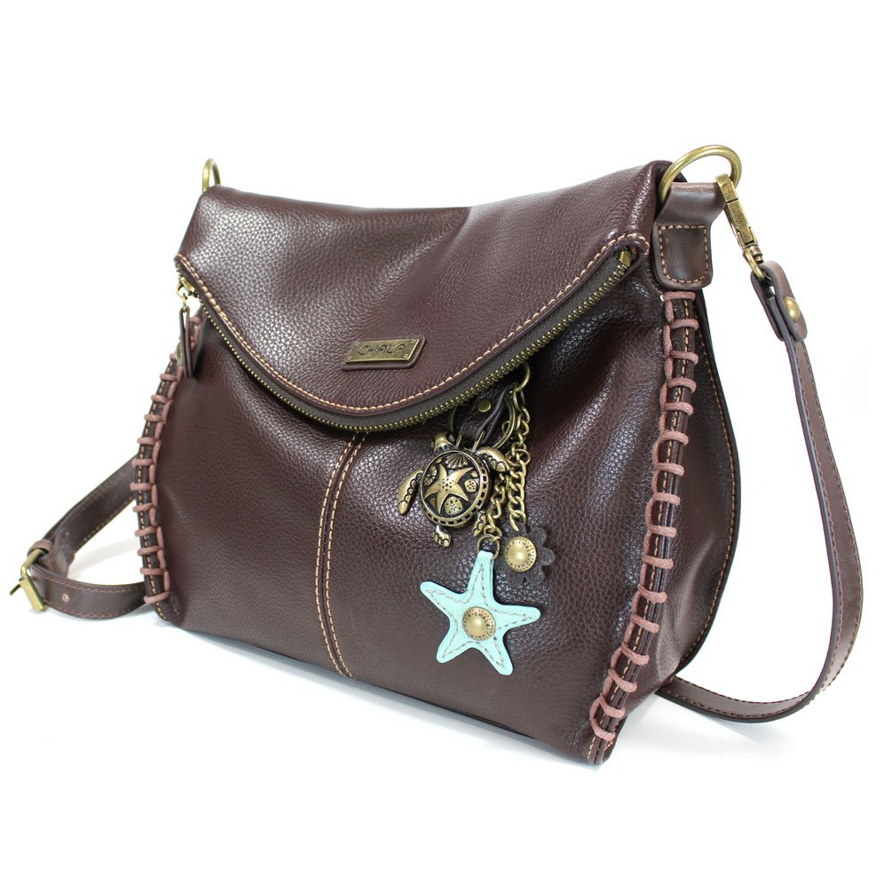 Chala Charming Crossbody Bag with Zipper Flap Top and Metal Chain - Dark Brown - Turtle