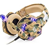 VersionTech【迷彩版】3.5mm ゲーミングヘッドセット 高音質 マイク付き LED照明 重低音ステレオ ゲーム用ヘッドホン 音量調節機能&騒音抑制機能 PS4 ラップトップやスマホ対応