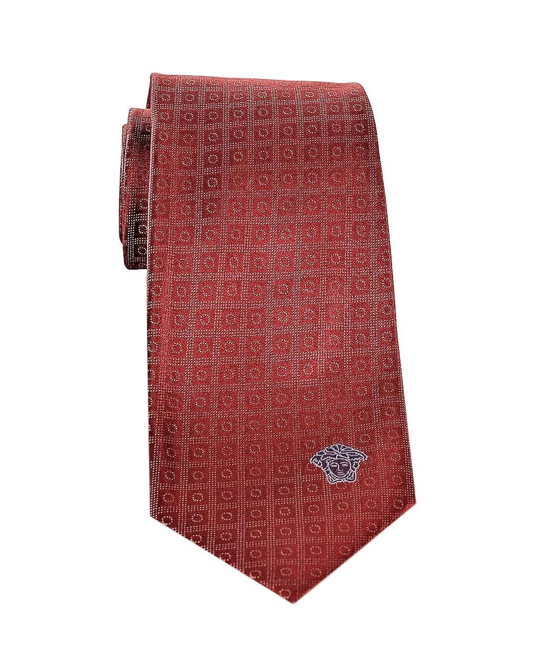 Versace Mens Geometrical Square Patterned Silk Necktie