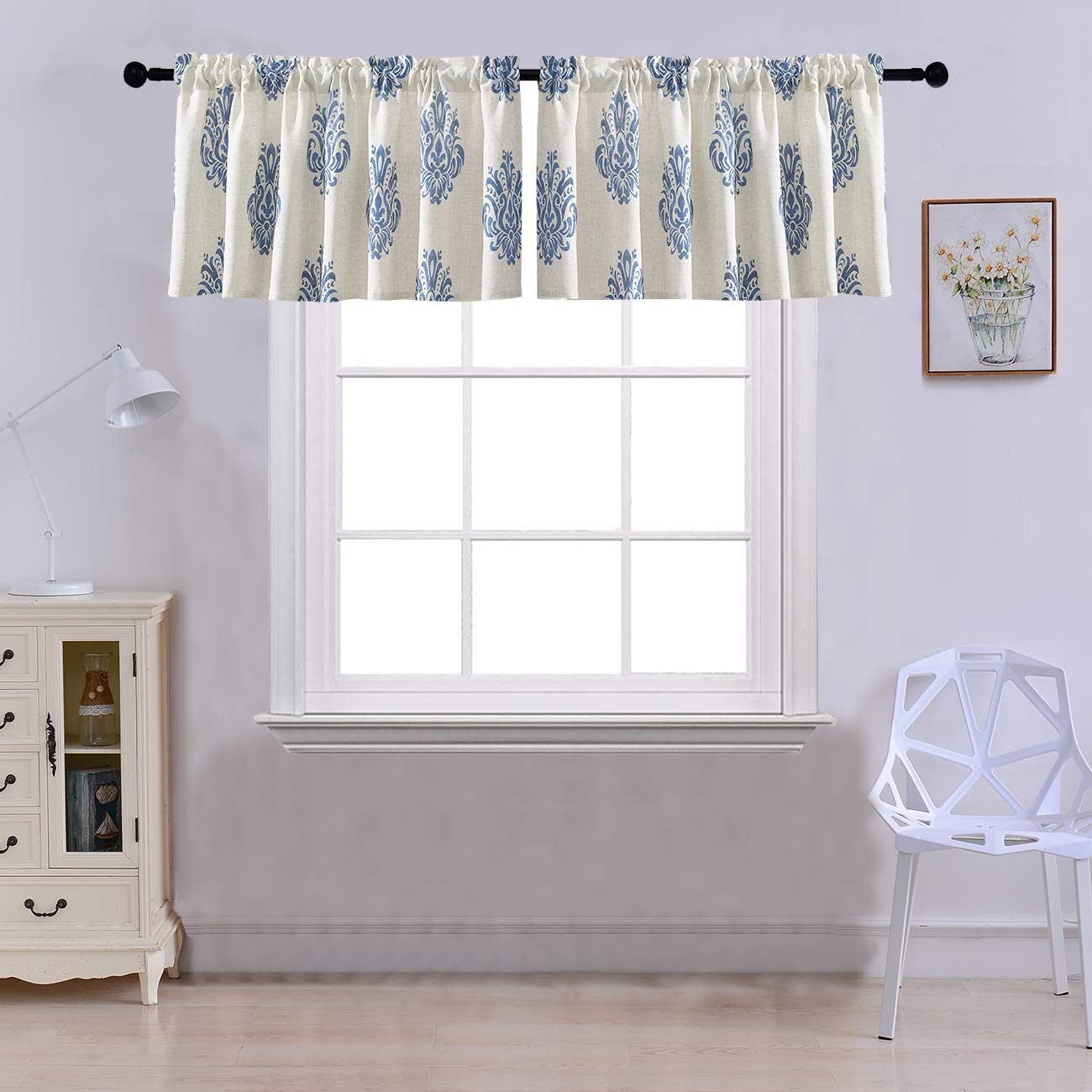 Curtain Valances for Windows Burlap Linen Print Window Curtains for Kitchen Living Dining Room 52 x 18 inches Rod Pocket Set of 2 Navy Blue