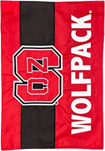 Team Sports America Collegiate North Carolina State University Embroidered Logo Applique Garden Flag, 12.5 x 18 inches Indoor Outdoor Double Sided Decor for Collegiate Fans