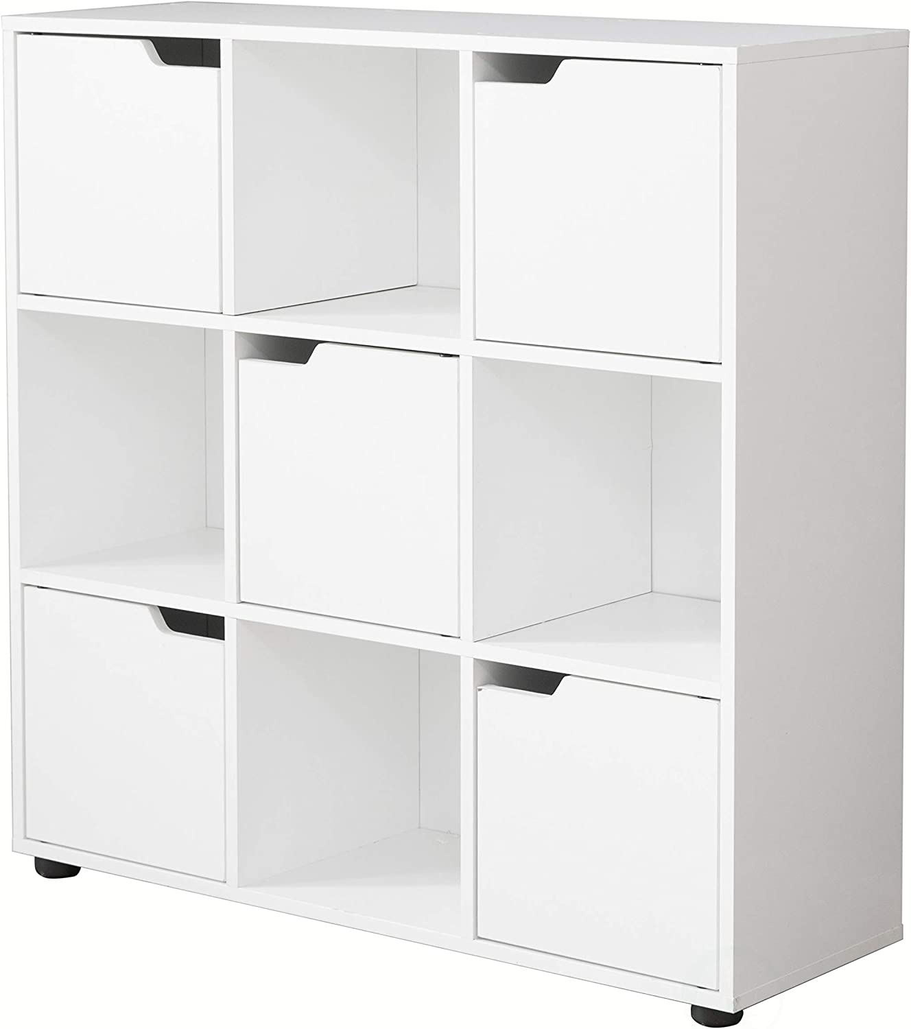 Basicwise 9 Cube Wooden Organizer with 5 Enclosed Doors and 4 Shelves, White