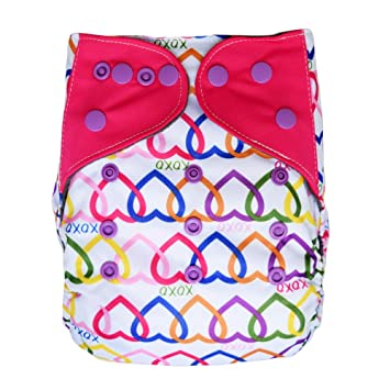 Pocket Cloth Diaper Stay-Dry Charcoal Bamboo, One Size 10-35Lb (Hearts