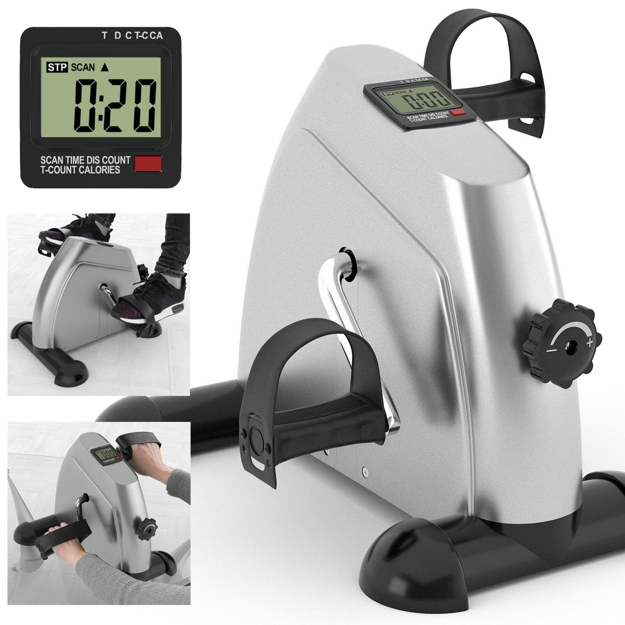 Kinetic Sports Mini Bike Pedaltrainer Heimtrainer Arm- und Beintrainer Bewegungstrainer mit Trainingscomputer Schwarz