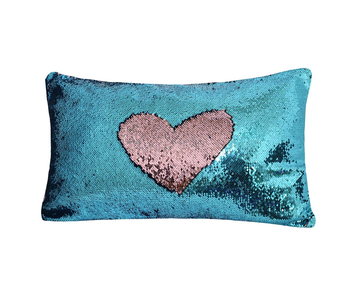 Zdada Birthday Pillow Cover,Mermaid Sequin Glitter Rose Pink and Turquoise Pillow Case with Insert