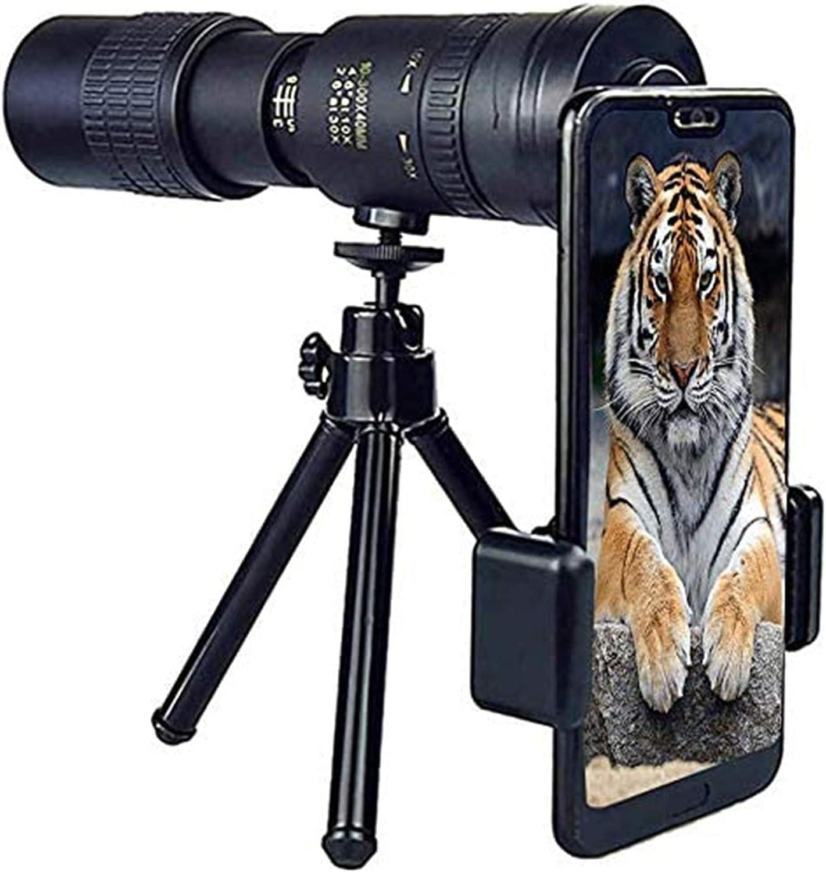 Regalo 10-300X40Mm Super Teleobjetivo Zoom Telescopio Monocular Portátil Nuevo, con Soporte para Smartphone y Trípode, Impermeable para Observación de Aves Monocular de Alta Potencia
