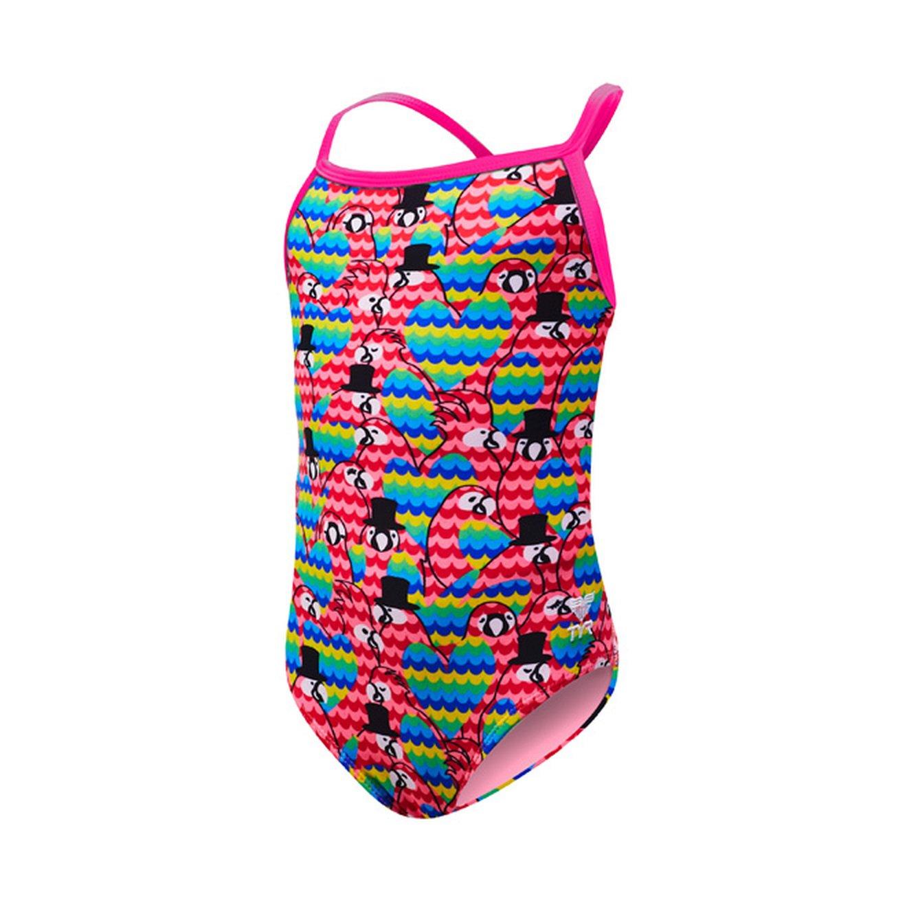 TYR Girls Love Bird Diamondfit Swimming One Piece, Pink Multi, Medium