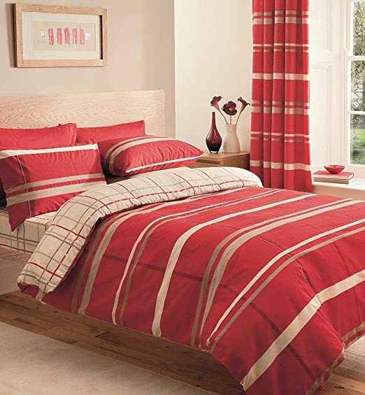 Matching Bedrooms Set King Size Duvet Cover With Pillowcase Pair Of Curtains 72 Fitted Sheet Red Amazon Co Uk Kitchen Home