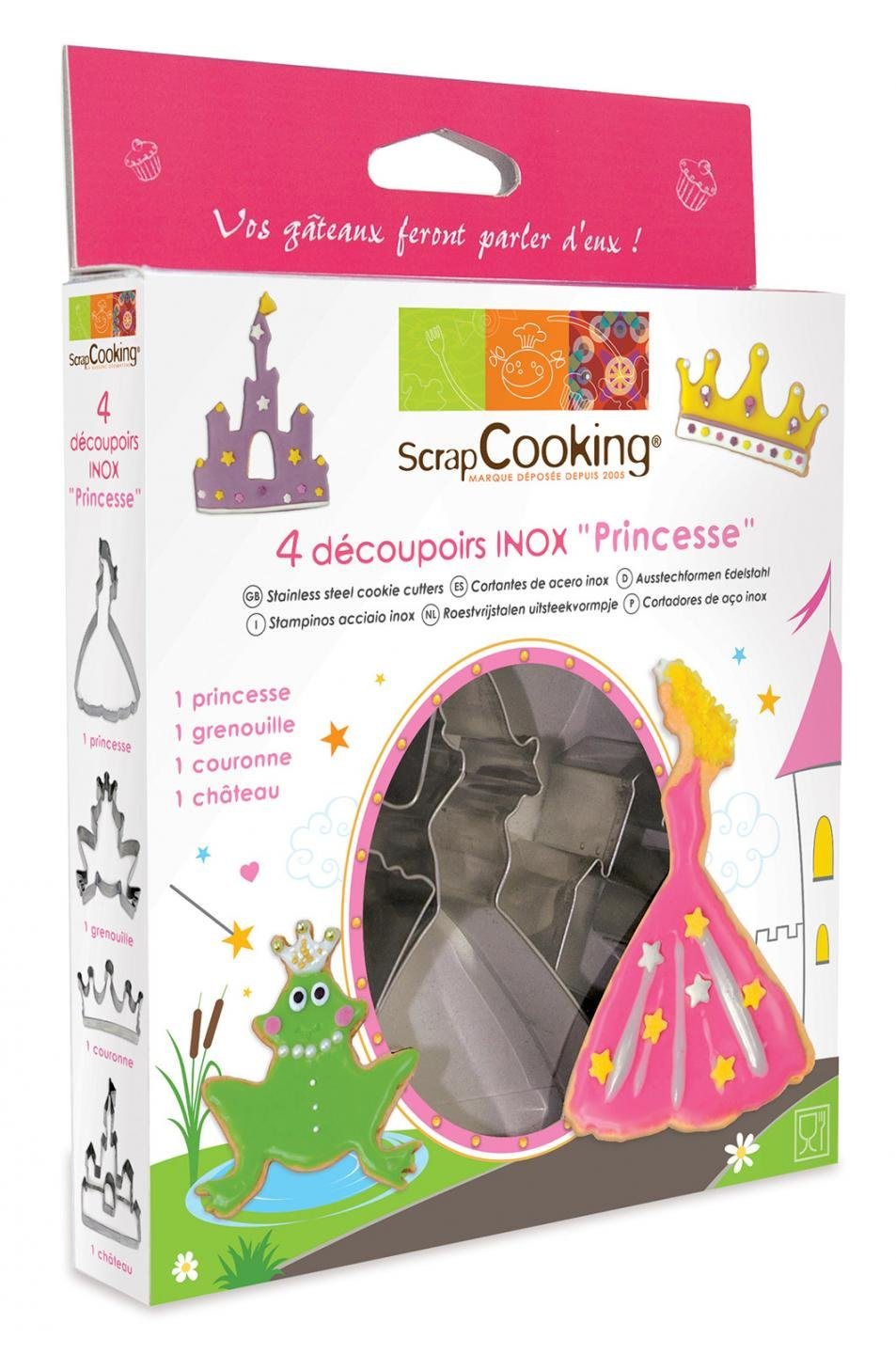 ScrapCooking Princess Cutters, Stainless Steel, Box of 4