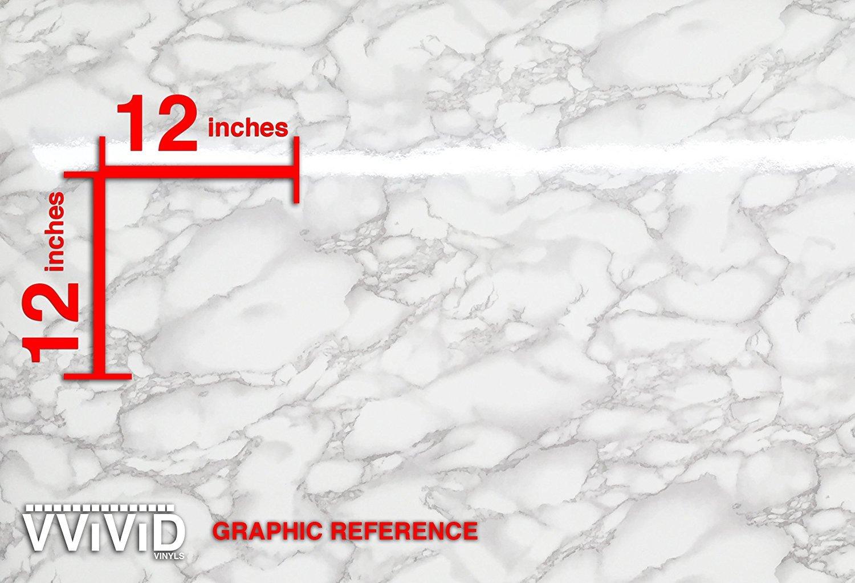 VViViD XPO White Grey Marble Gloss Vinyl Wrap Film 15.9'' x 6.5ft Roll X (20 sheets) by VViViD