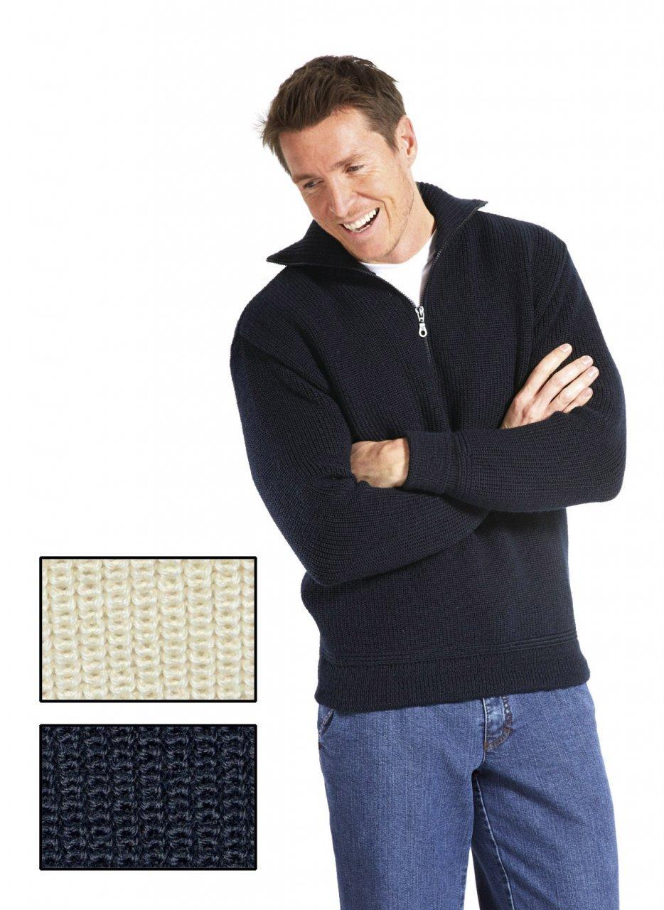 Modas Herren Troyer aus 100% Merinowolle, Farbe:dunkelblau;Größe:46