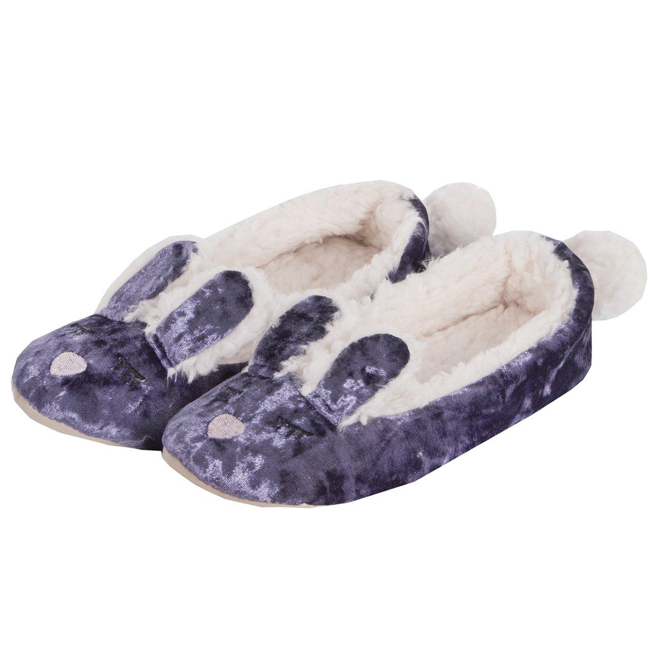 Ladies Novelty Rabbit Velvet Ballet Slippers
