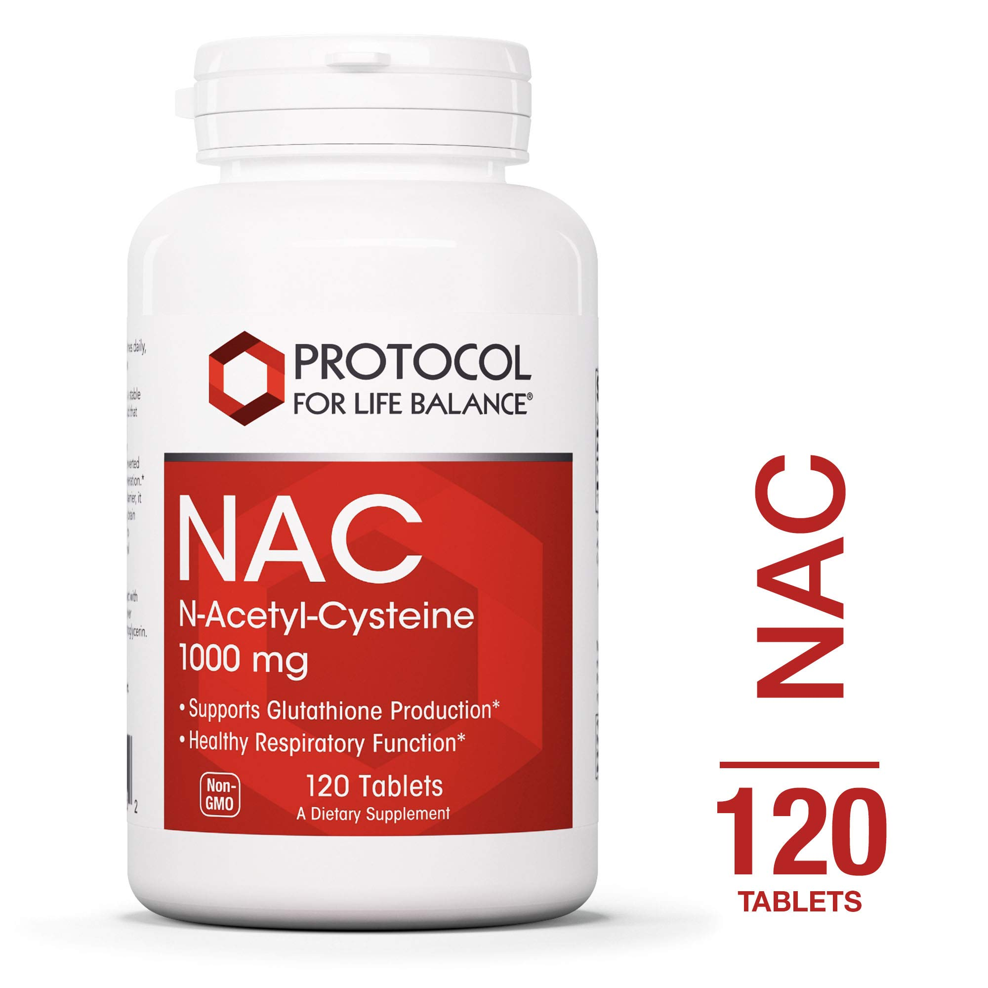 Protocol For Life Balance - NAC N-Acetyl-Cysteine 1,000 mg - Supports Glutathione Production and Promoting Nervous Tissue Health and Healthy Respiratory Function - 120 Tablets