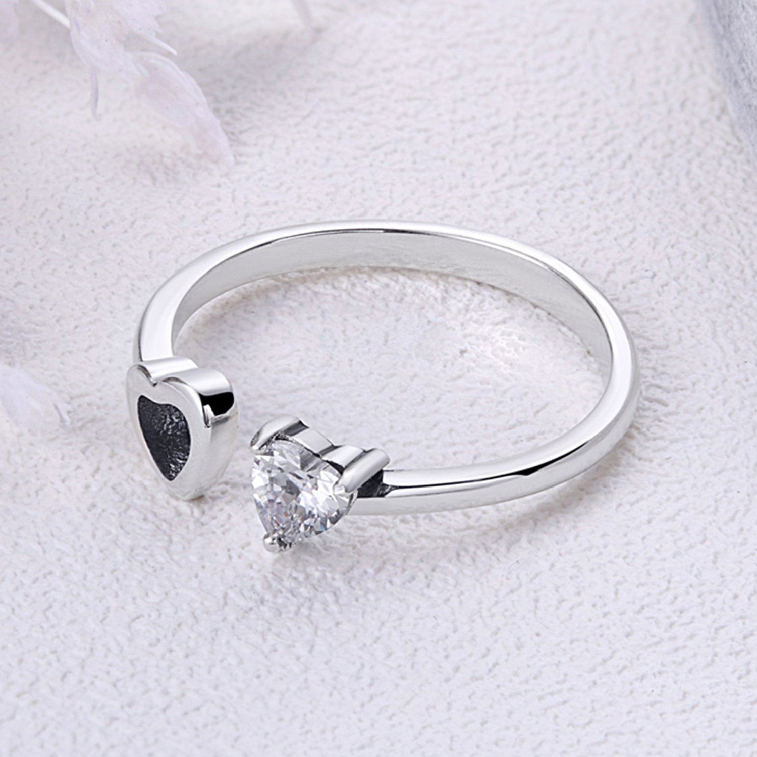 925-Sterling-Silver-Love-Heart-White-Birthstone-CZ-Ring-Expandable-Open-Rings-Adjustable-Women-Jewelry