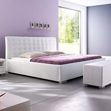 Moebelfrank Polsterbett Kunst Lederbett Weiß Bett Doppelbett