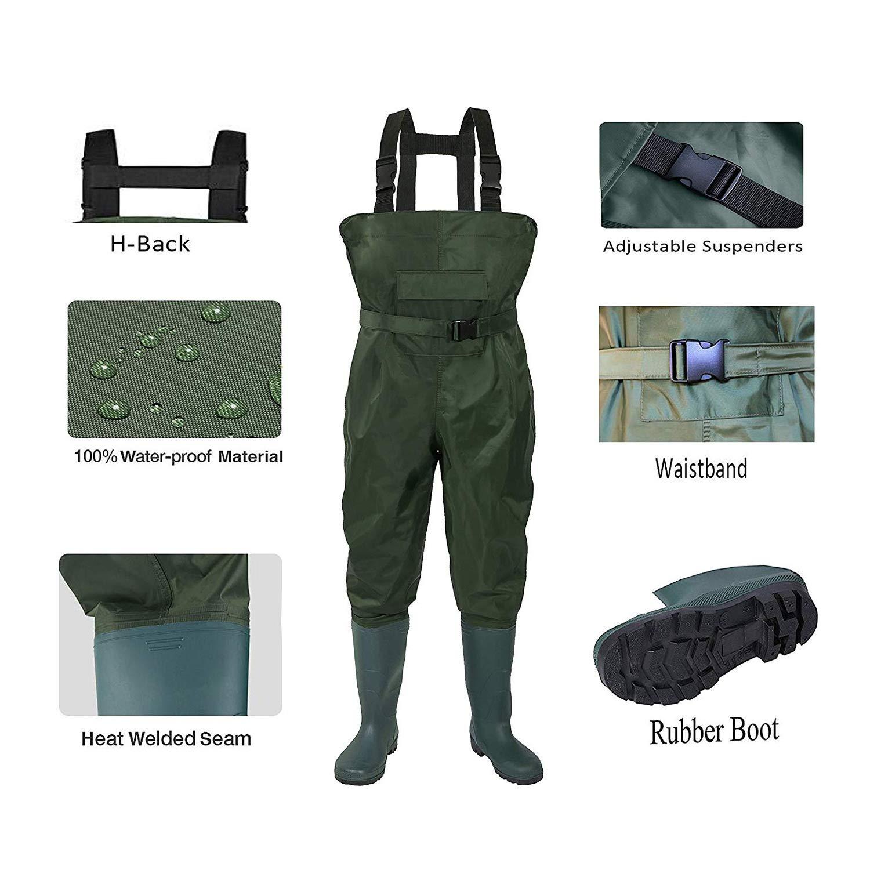 Y current Outdoor imperm/éable p/êche Wading PVC Pantalons Respirant Eu38-47 Bottes 3-Couche arm/ée Hommes Verts Femmes Waders Agriculture Salopettes Pantalons