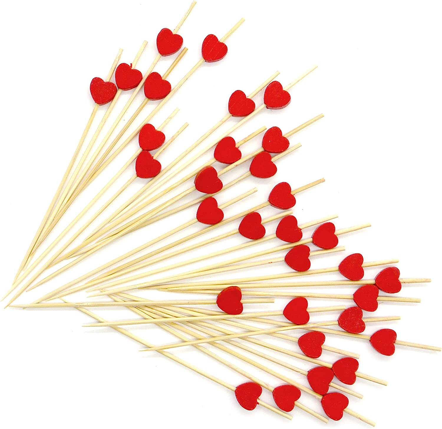 PuTwo Cocktail Toothpicks 100 Counts Cocktail Picks Handmade Natural Bamboo Cocktail Sticks Eco-Friendly Appetizer Skewers for Cocktail Appetizers Fruits Dessert - Red Hearts