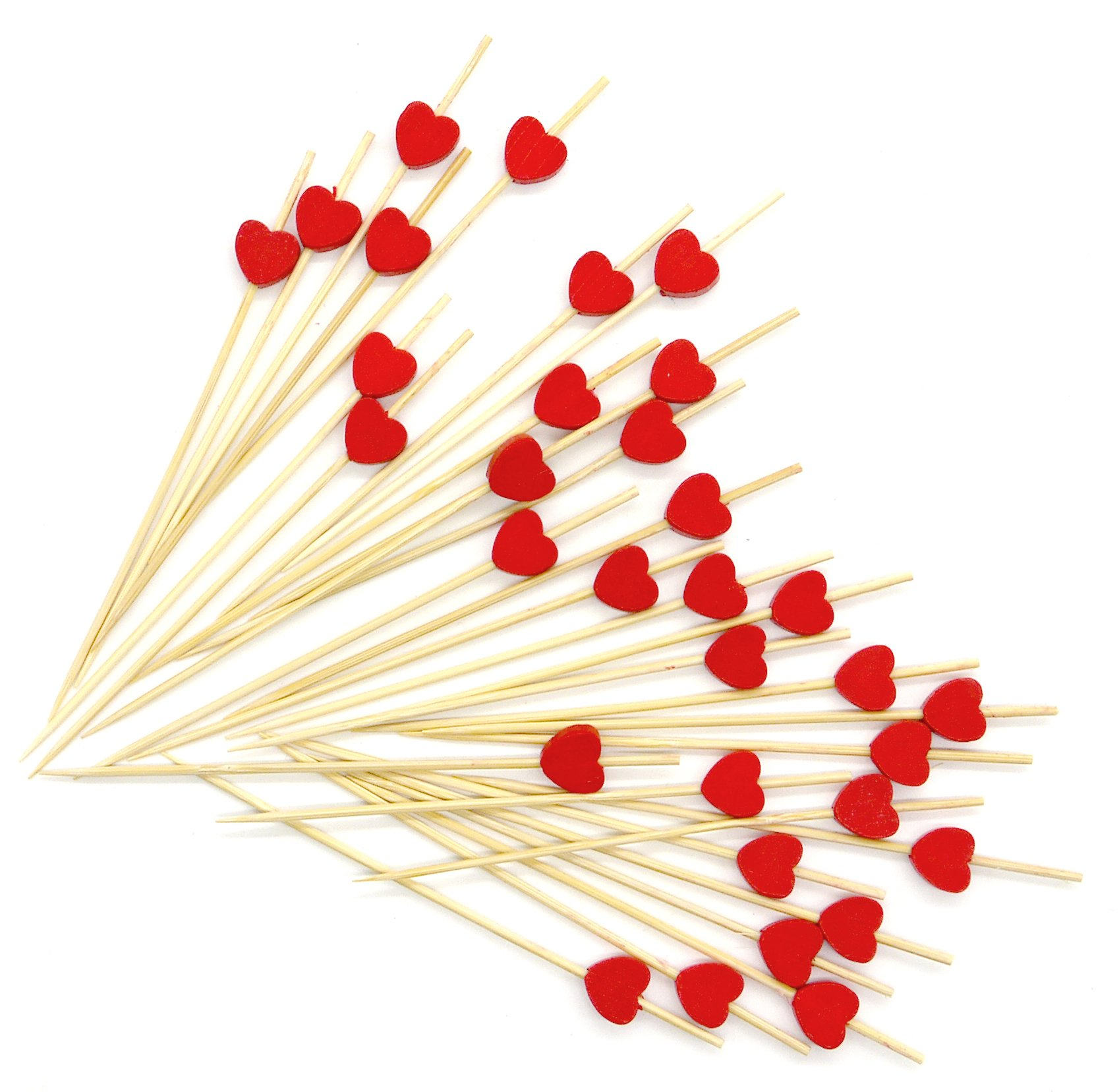PuTwo Cocktail Toothpicks 100 Counts Cocktail Picks Handmade Natural Bamboo Cocktail Sticks Eco-Friendly Appetizer Skewers for Cocktail Appetizers Fruits Dessert - Red Hearts by PuTwo