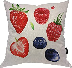 Beabes Throw Pillow Cover Watercolor Berries Strawberry Blueberries Raspberries Summer Fresh Fruits Square Pillow Case Cushion Cover for Home Car Decorative Cotton Linen 18x18 Inch