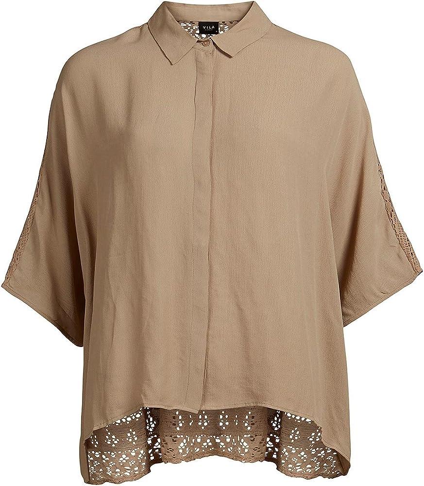 Camisa espalda crochet de Vila Clothes (L - Camel): Amazon.es: Ropa y accesorios