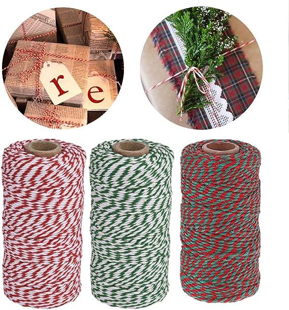 Spago da cucina natalizio,filo da cucina in filo di cotone a 3 rotoli da cucina per macellai da forno Confezione regalo di Natale,spago durevole bianco verde rosso 100M per arte artigianale