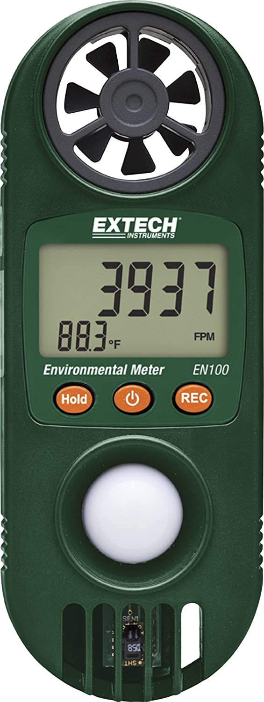 Extech EN100 Higro-termo-anem/ómetro compacto con sensor de luz de Extech
