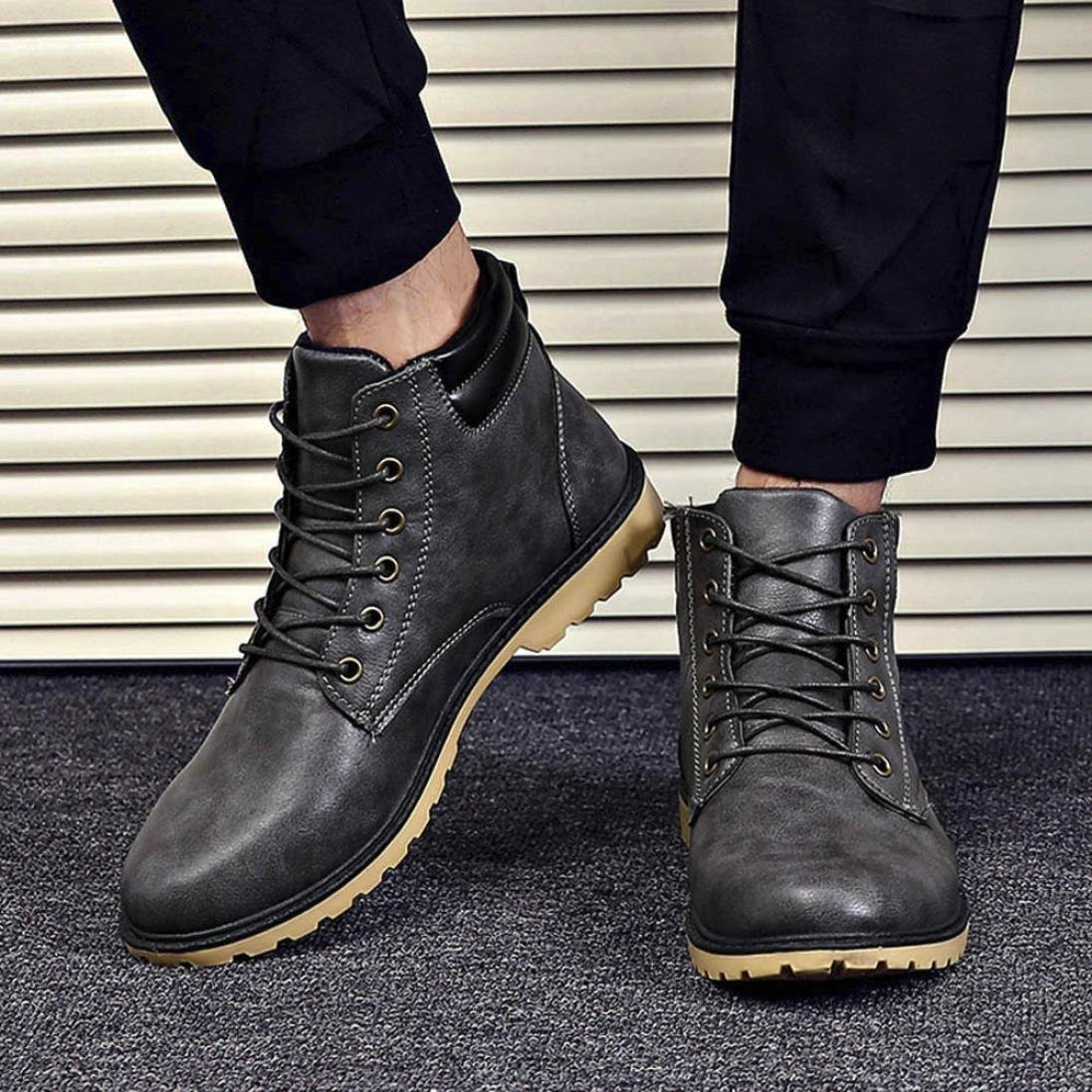 Elevin 2017Men Winter Warm Low Ankle Trim Flat Ankle Flat Martin Ankle Boots Shoes TM