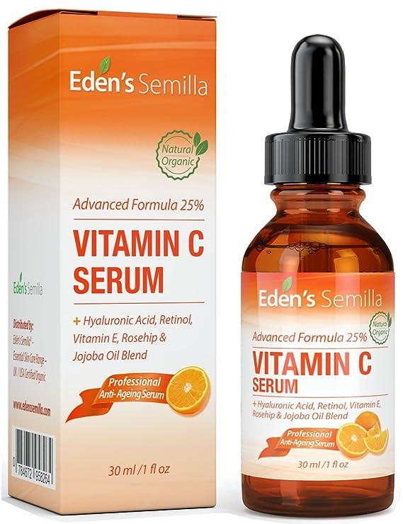 25% Vitamina C Serum 30ml - UNA FORMULA PODEROSA Y AVANZADA - Ácido Hialurónico, Retinol, Vitamina E y Aceite de Rosa Mosqueta y Jojoba.