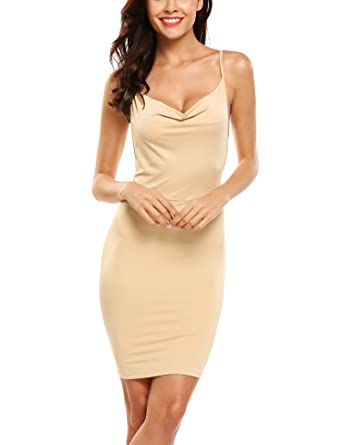 Zeagoo Women Sexy Sleeveless Cowl Neck Package Hip Mini Club Cocktail Dress  Club Party Khaki S 7aec28411