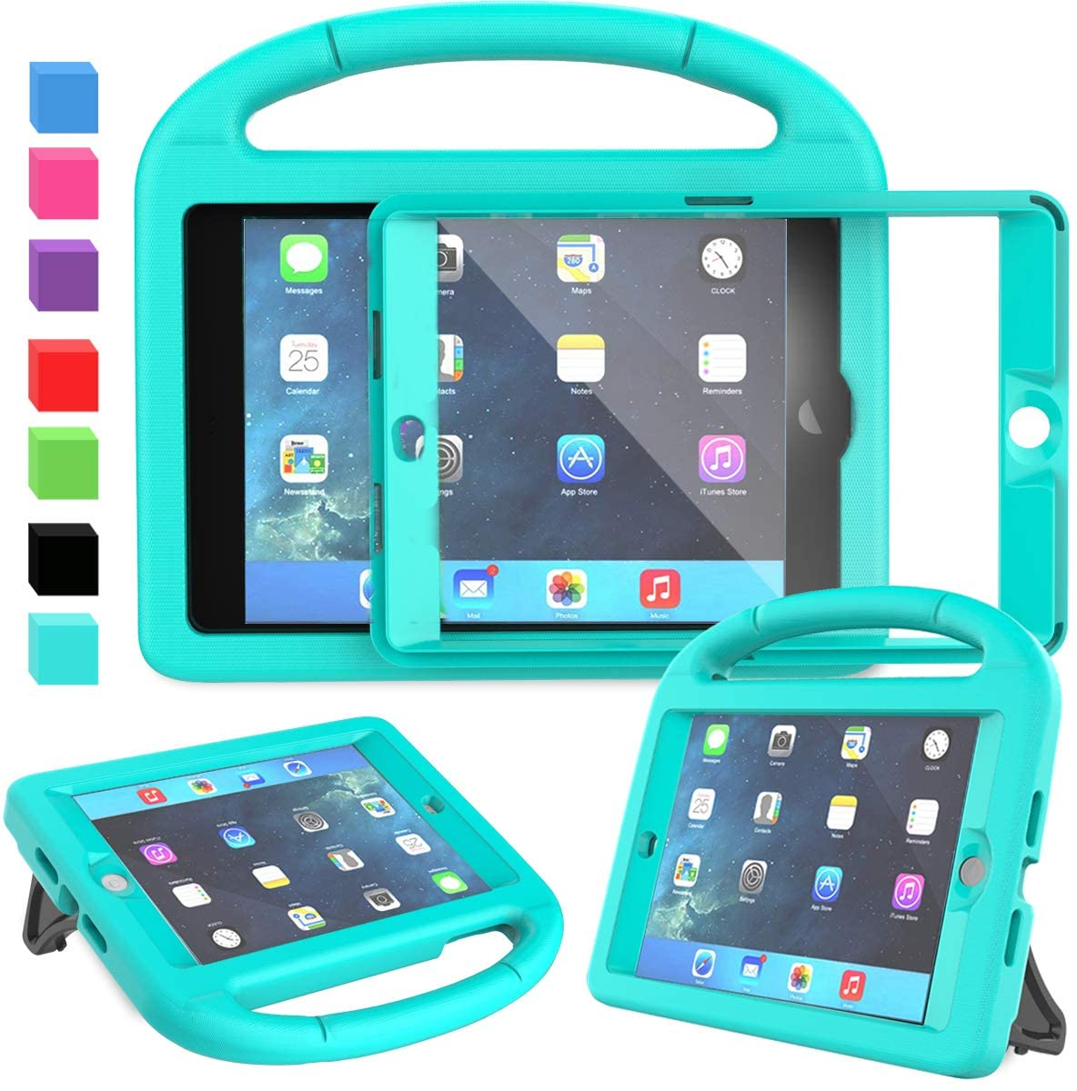 AVAWO Kids Case for iPad Mini 1 2 3 - Built-in Screen Protector Light Weight Shock Proof Handle Stand Kids Cover for iPad Mini 1st Gen, iPad Mini 2nd Gen, iPad Mini 3rd Generation - Turquoise
