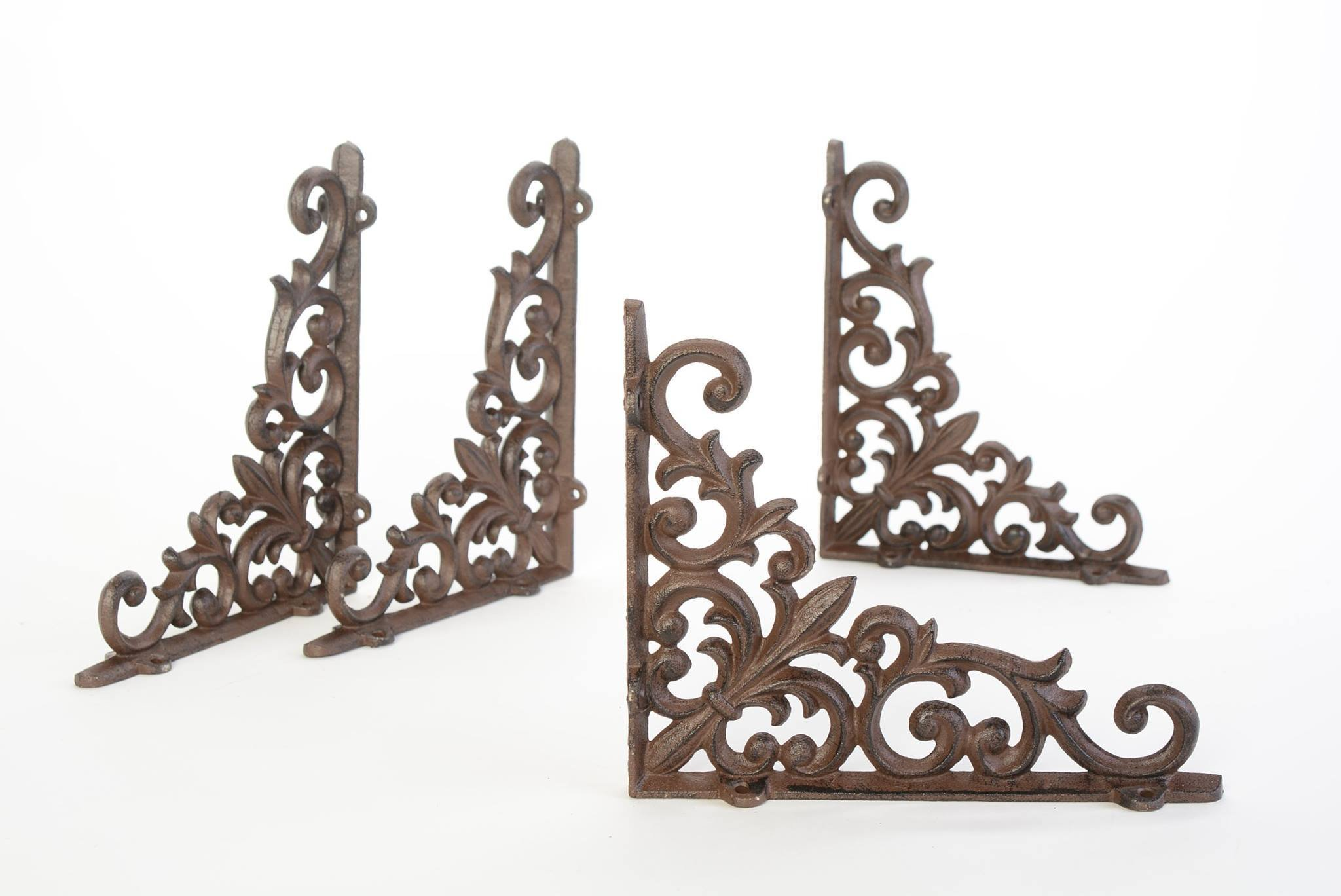Lot/Set 4 Antique-Style Cast Iron Fleur-de-lis 9 x 7.5 inch SHELF BRACKETS Hangers