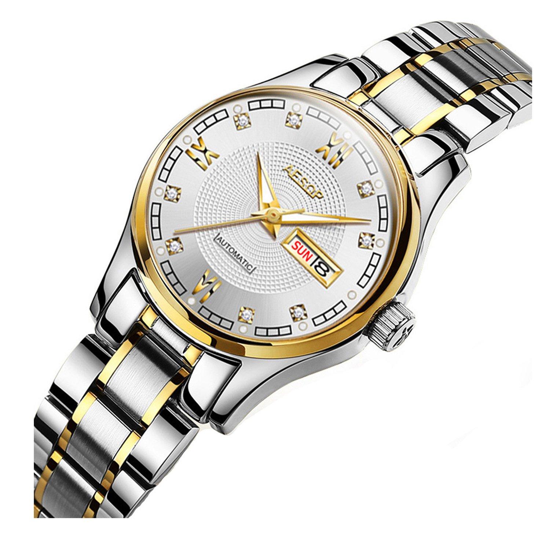 ラグジュアリードレス光カレンダーダイヤモンドレディース自動機械ステンレススチール防水Girls Watch Silver Gold White B076Y4TRR3 Silver Gold White Silver Gold White