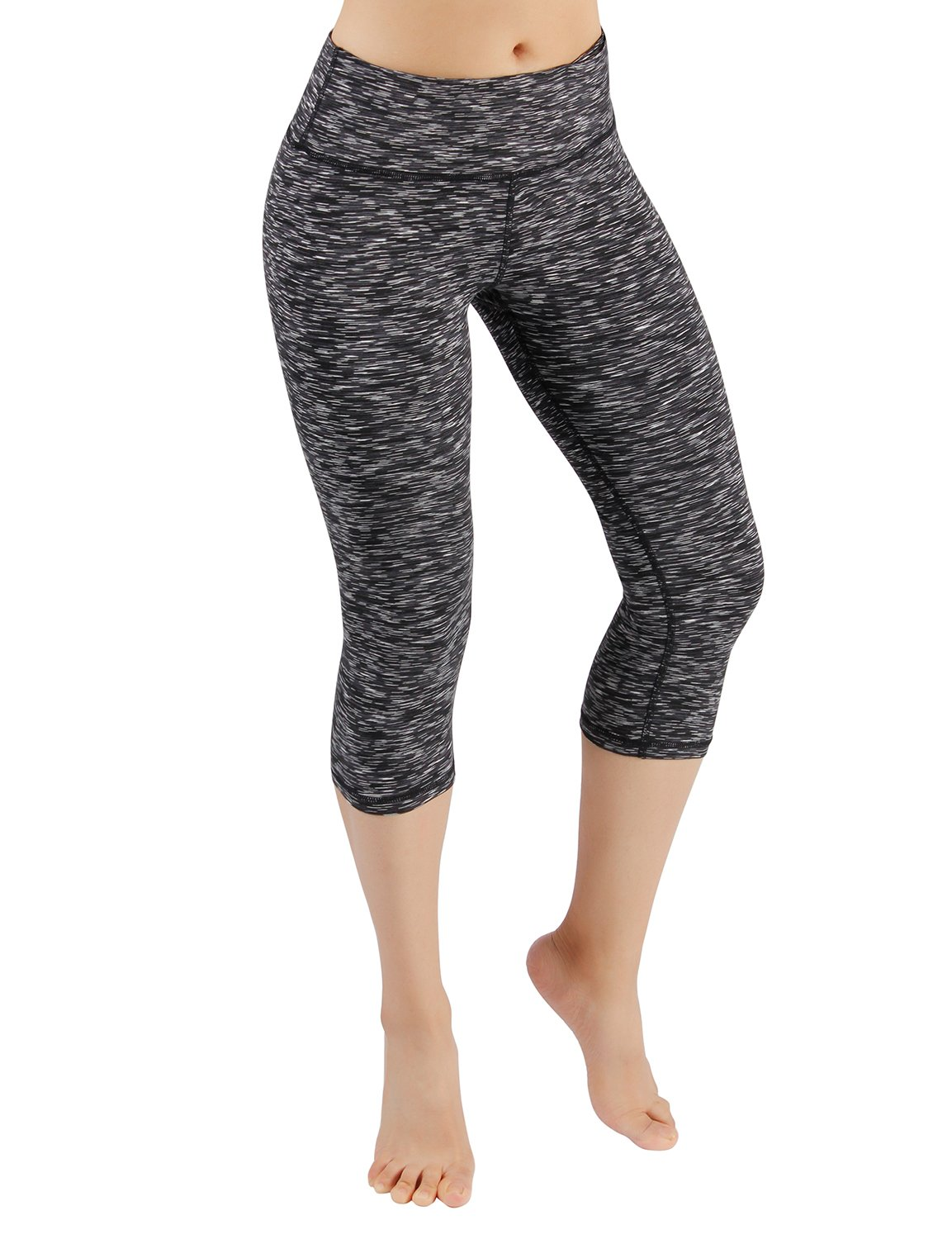 ODODOS Power Flex Yoga Capris Pants Tummy Control Workout Running 4 Way Stretch Yoga Capris Leggingss with Hidden Pocket,SpaceDyeMattBlack,Medium