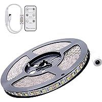 SODIAL Flexible 5M DC 12V 72W SMD 2835*600 Leds IP65 Waterproof White(6500K) LED Strip Band Lights + Remote Controller