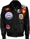 Aus Eshop Men Fur Collar Patches Shearling Aviator Pilot Bombertom Leather Jacket